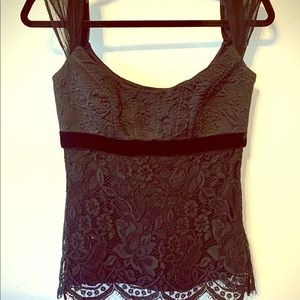 Elie Tahari Silk Lace Empire Waist blouse